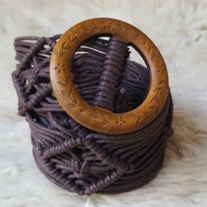 Vintage Waxed Woven Belt with Etched Wooden Buckle